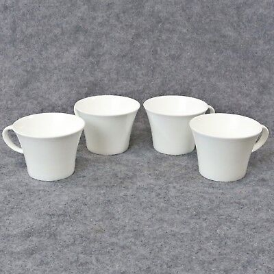 Crate and Barrel White Pearl China Coffee Tea Cups Set of 4 Japan by Nikko
