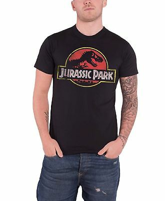 Jurassic Park Logo Shirt Classic Dinosaur Movie Official T Shirt Mens Black