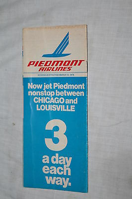Vintage Piedmont Airlines System Timetable March 15, 1978