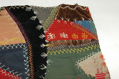 Antique Embroidered Crazy Quilt Piece Detailed Stitching Study P22