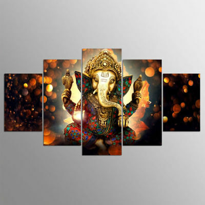 Hindu God Ganesha Elephant 5 panel canvas Wall Art Home Decor Poster Picture