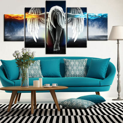 Angel Wings Fire & Ice 5 panel canvas Wall Art Home Decor Poster Picture