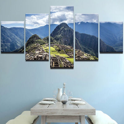 Machu Picchu Peru 5 panel canvas Wall Art Home Decor Poster Picture