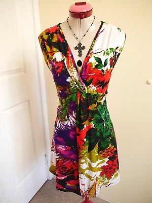 VEDUCCI White Green Red TOP Size 14 Open Front Floral Print S/Less Blue Black