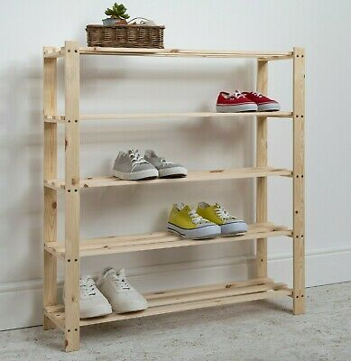 Shoe Rack Storage Unit in Pine 5 Tier Pine Wooden Choice of Sizes