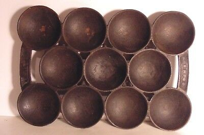 Antique R&E Russell & Erwin Cast Iron Aebleskiver Danish Baking Pan Late 1800's