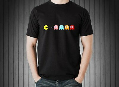 db04d6e3 Retro Gaming C64 PACMAN & GHOSTS Atari Video Games Cool 80s 100% Coton T  Shirts
