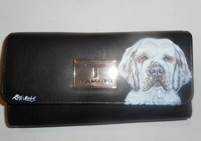 Clumber Spaniel dog Hand Painted  Leather Ladies Wallet Vegan Identity Protect
