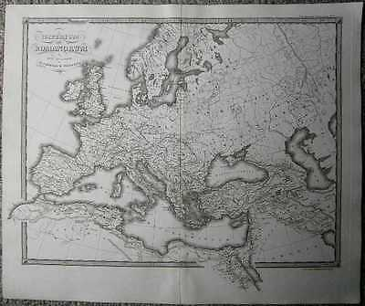 1855 Spruner map ROMAN EMPIRE AFTER DIVISION INTO WESTERN AND EASTERN EMPIRES