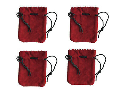 """4 Red Genuine Suede Leather 3"""" Drawstring Pouch Bag Jewelry Coin Renaissance"""