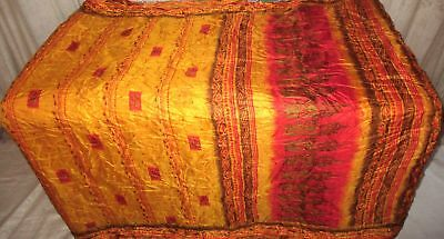 Golden Red Pure Silk 4 yard Vintage Sari GIFT Outfit Drape measurement UK #9DRTL