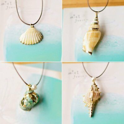 Natural Conch Shells Seashell Pendant Necklace Rope Chain Beach Women Jewelry