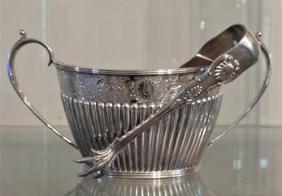 Antique Mappin & Webb Silver Plated Engraved & Gadrooned Sugar Bowl with Tongs