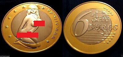 SEX EUROS COIN Gold Silver Lady Cleavage Europe Topless 18+ Adults Only NSFW EU