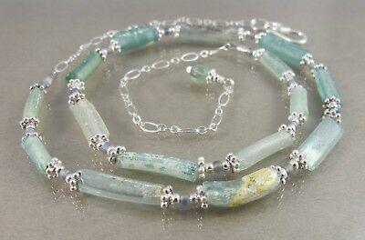 """gorgeous sea foam green ancient Roman glass sterling adjustable necklace 16""""-19"""""""