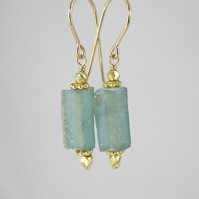 """blue green ancient Roman glass gold filled earrings 1.5"""""""