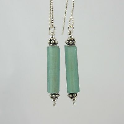 pretty green cylindrical ancient Roman glass sterling silver earrings