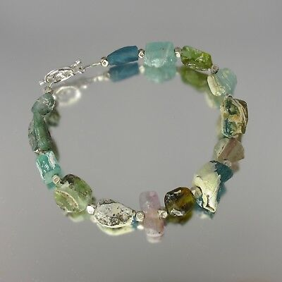AMAZING multicolor textural ancient Roman glass sterling silver bracelet 7.25""