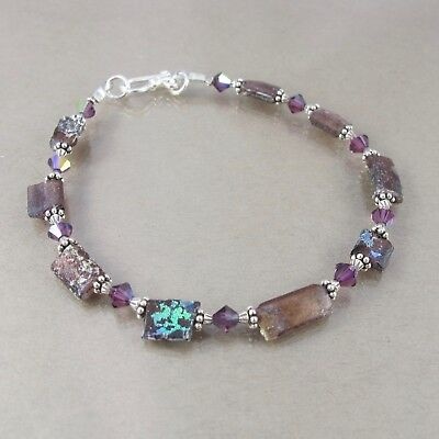 RARE purple ancient Roman glass & Swarovski sterling bracelet PATINA! 7.25""