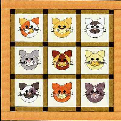 New Applique Quilt Pattern TOM CATS  by Sindy Rodenmayer 52 x 52