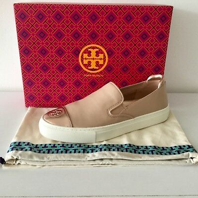 6404d8e7a0eb NIB Tory Burch 100% Authentic Color Block Metallic Slip-On Leather Sneakers  -7.5