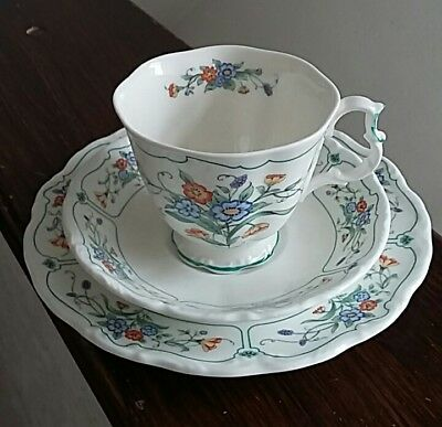 Royal Albert Hamlyn Tea Cup, Saucer and side plate trio. Decorated with flowers