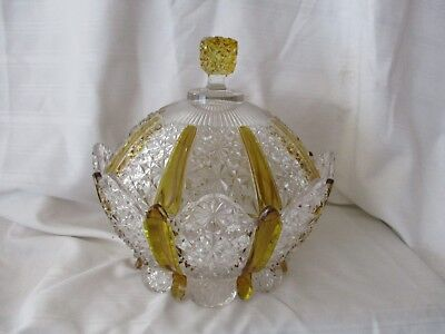 """EAPG Amberette Paneled Daisy & Button covered bowl c.1866 Duncan & Sons 8.5"""""""