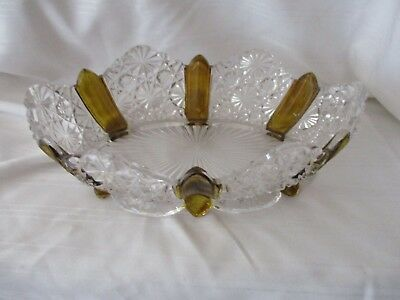EAPG Amberette Paneled Daisy & Button oval footed bowl c.1866 Duncan & Sons 8""