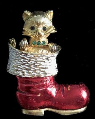 Vintage Signed MYLU CAT/Kitten in Santa Claus' Boot CHRISTMAS PIN/Brooch,FJT