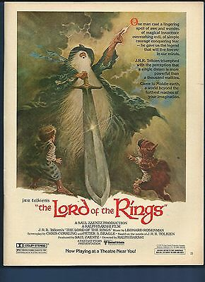 Vintage 1978 Lord of the Rings J.R.R. Tolkien magazine ad **FREE SHIPPING**