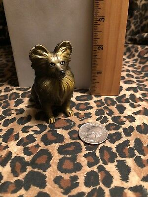 Vintage NEW-RAY Rubber Plastic Dog Toy Figurine PAPILLON  Free S&H