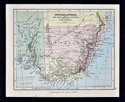 1889 Hughes Map - Southeast Australia New South Wales Victoria Sydney Melbourne