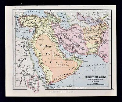 1889 Hughes Map - Western Asia Middle East Arabia Iraq Iran Turkey Afghanistan