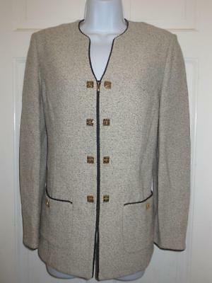 ST. JOHN  Marie Gray BLACK & Ivory TWEED Zip Front JACKET Blazer Santana Knit 8