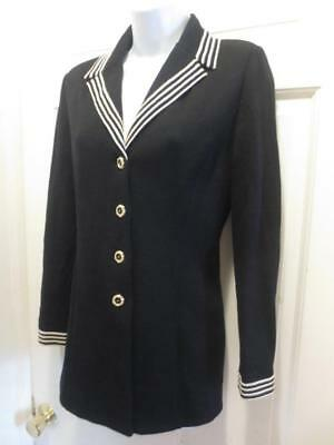 ST. JOHN Marie Gray LONG Black WHITE STRIPED Santana Knit JACKET Blazer 4 Small