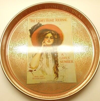"Vintage The Ladies Home Journal May 1909 14"" Round Tin Serving Tray"