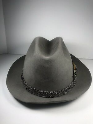 005674a5069 Vintage Stetson Key Club Men s Fedora Hat Taupe Gray Ultimate Felt Finish 7  ...