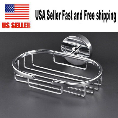 Stainless Steel Soap Dish Wall Mounted Holder Basket Bathroom Kitchen Sink US
