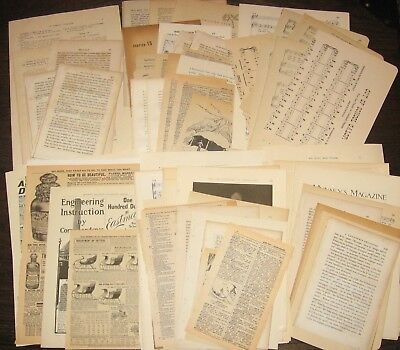 Mix Lots Antique Vtg Old Book Pages~Collage Altered Art Junk Journal Scrap Paper