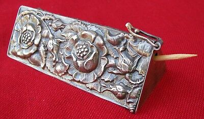 Fine Mint Antique Unusual Triangular Silver 3-D Silver Gilded Toothpick Case