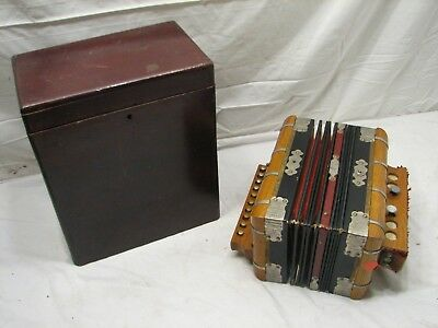 Antique Empress Accordeon Folk Instrument w/Wooden Case Accordion Germany