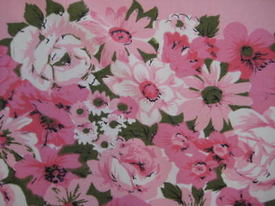 Vintage PINK Green Floral Roses Daisies White RAYON Fabric Tablecloth 49 x 58