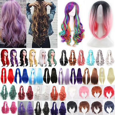 Womens Girls Long Hair Wig Straight Curly Wavy Anime Cosplay Party Full Wigs New