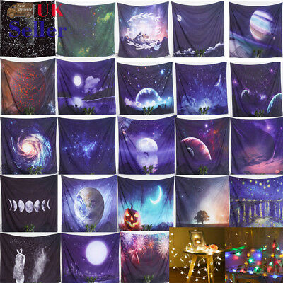 Constellation Tapestry Space PlanetTapestry Mandala Wall Hanging w/3m LED Light