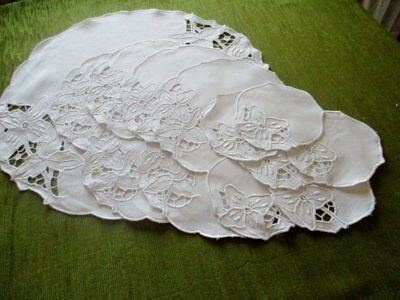 Antique Luncheon Set - White work Hand Embroidery - Round - Linen