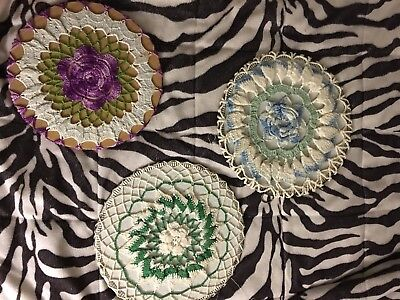 Vintage Lot 3 Hand Crocheted Cardboard Bowl Covers