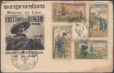 Laos 1963 Freedom From Hunger Multiple Franked Cover With 4 Values