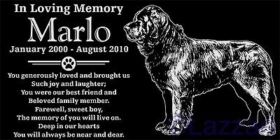 Personalized Newfoundland Dog Pet Memorial 12x6 Granite Headstone Grave Marker