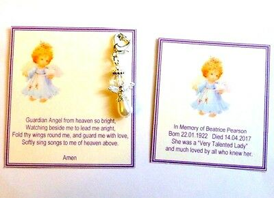 Memorial, In Memory, Bereavement, Remembrance, Keepsake Card with Guardian Angel