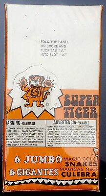 Vintage 1983 SUPER TIGER Case 48 Boxes of Magic Color Snakes Fireworks
